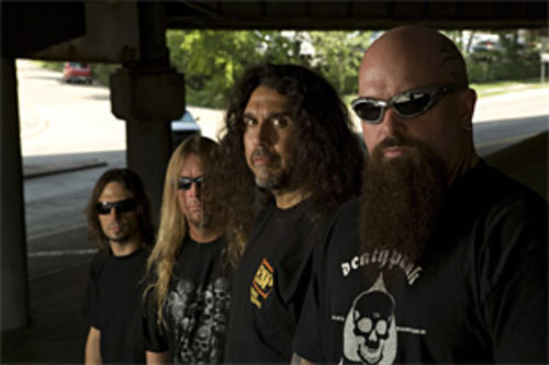 Slayer's Tom Araya (second from right) doesn't sweat the small stuff