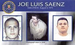 Ten Most Wanted: Jose Saenz's likeness featured on the FBI's new poster.