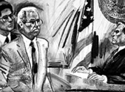 Padreda at his felony sentencing, as depicted by a courtroom illustrator