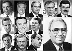 Friends, enemies, and acquaintances (top row, left to right): Former Gov. Bob Martinez, Al Cardenas, Jorge Valdes, Maurice Ferr, Sergio Pereira; (second row) Miami Mayor Manny Diaz, Hialeah Mayor Raul Martinez, President Ronald Reagan; (bottom row) Gov. Jeb Bush, FBI head Hector Pesquera, former Miami Police Chief Raul Martinez; (bottom right) Camilo Padreda
