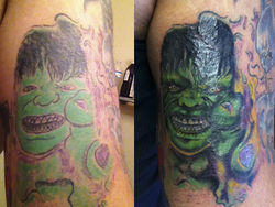 A botched Hulk tattoo that Louie salvaged.