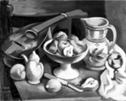 Jan Matulka's oil on canvas: Still Life with  Mandoline and Pears  (circa 1925)