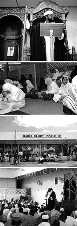 Shafayat Mohamed (top and bottom) gives a Friday sermon at Darul Uloom.