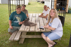 Residents of the new Harvest Moon Trailer Park in Linden, Pennsylvania.