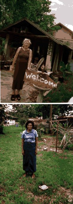 Mabel Tower shows her nail-embellished welcome mat in Allapattah; a morose Maudlin Cummings tries to get used to her denuded yard in Carol City