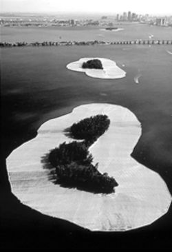 Two of Christo's ephemeral yet seminal  Surrounded Islands, which created waves in  Biscayne Bay in the early Eighties