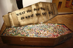 A pill-filled coffin at Scope Art Fair 2011.