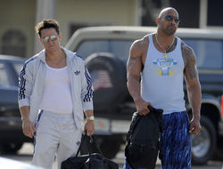 Mark Wahlberg and Dwayne Johnson on the set of Pain &amp; Gain.