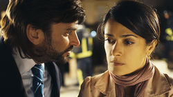 Fernando Tejero and Salma Hayek in As Luck Would Have It.