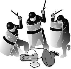 Rule #8: When being beaten by security guards or a riot squad, curl into a fetal position to protect your internal organs. Be sure to cover your nose, eyes, and mouth to prevent any inhalation of pepper spray.