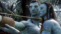 Neytiri (Zoe saldana, right) teaches Jake (Sam Worthington) the skills he&#039;ll need to survive on Pandora.