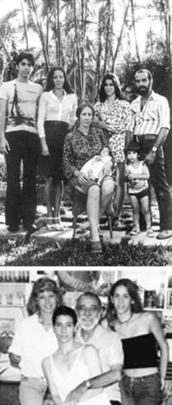 A Korda moment in 1976 Havana (at top) with Fidel Alberto, Diana, Monica, baby Alejandra, Norka junior, and Dante; another in 2000 (above) with Diana, Norka, and Alejandra
