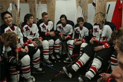 The Toros gather between periods in their Kendall Ice Arena locker room, which is under construction. Junior Hockey is still new to Miami