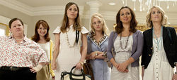 Melissa McCarthy (left), Ellie Kemper, Rose Byrne, Wendi McLendon-Covey, Maya Rudolph, and Kristen Wiig in Bridesmaids