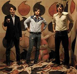 The Avett Brothers with collaborator Bruce Campbell (left)