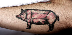 Talula's sous chef, Kyle Foster, sports this tattoo on his forearm.
