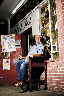 Chris Hubbard outside Churchill's Pub.