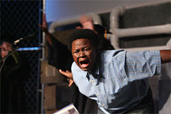 Kyle Freeman, a seventh grade drama student at Southwood Middle School, portraying a student in Defining Code Red. The play is based on the 2004 murder of Southwood eighth grader Jaime Gough