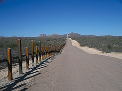 "The U.S.-Mexico border ""fence"" in eastern Arizona, not far from the Krentz killing site."
