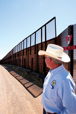 Cochise County Sheriff Larry Dever, at the border near Naco, says that solving the Krentz murder is at the top of his agenda.