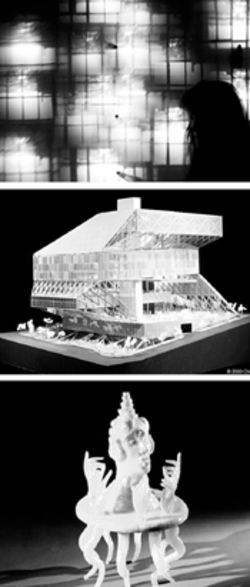 "From top: Simon Lee ""Bus Obscura,"" A model of Seattle's public library, Work by Eduoard Duval-Carrié"