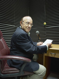 Forced off the airwaves, Max Lesnik now broadcasts his one-hour radio show on Radio-Miami.com.