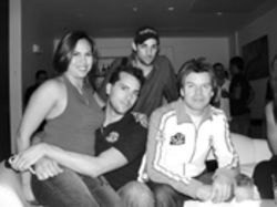 Lani Aguila (left), Buster, Seth Browarnik, and Paul  Oakenfold hang at Joia