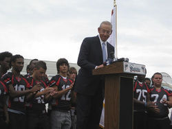 Stephen M. Ross speaking at Miami Beach Senior High.