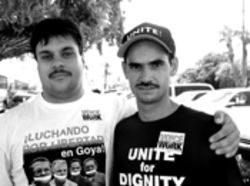 UNITE organizer Willy Gonzalez (left) takes Manny Bravo's troubles personally