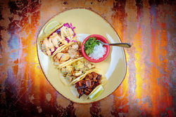 El Vato's carnitas, beef, chicken, and mahi tacos. View more photos of El Vato.