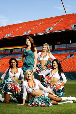 Emily Newton with Miami Dolphins cheerleaders
