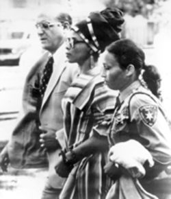Black Liberation Army cause célèbre Assata Shakur (center) during her 1973 trial for  the murder of a New Jersey state trooper