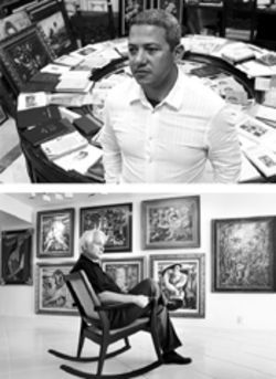 Roberto Ramos (top) believes that Cuban art is being damaged by allegations of widespread forgery asserted by collector and dealer Ramon Cernuda (above), pictured here at his Brickell condo in 2003
