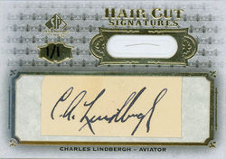 The trading card purported to bear the signature of aviator Charles Lindbergh.
