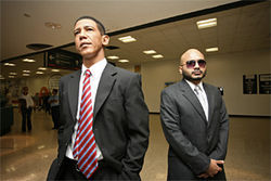 On the campaign trail: Faux-bama and his Miami New Times Secret Service.