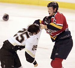Bouwmeester brawling with Maxime Talbot in November 2005.