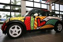 A Britto-ized Mini Cooper.