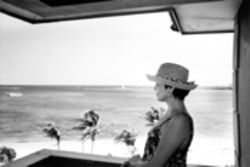 Donna Weaver looks out onto the Bahamian waters 