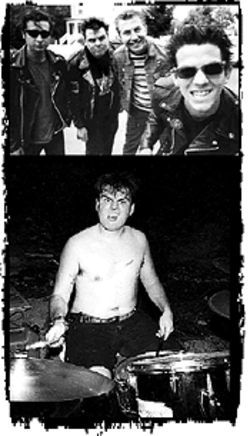 A Crumbs photo album (from left): Johnny Bonnano, Chuck Loose, Emil Busse, and Raf Luna smile; Loose should have kept his shirt on!