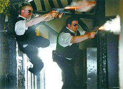Two cops. Four guns. Zero wounded. Simon Pegg and Nick Frost in Hot Fuzz