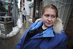 Kim Rivera, the first female Iraq war deserter to seek refuge in Canada, waits for a streetcar in Toronto.