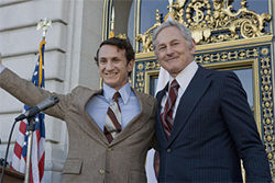 Sean Penn (left) as Harvey Milk and Victor Garber as Mayor George Moscone