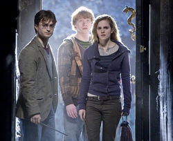Daniel Radcliffe, Rupert Grint, and Emma Watson in Harry Potter and the Deathly Hallows: Part 1