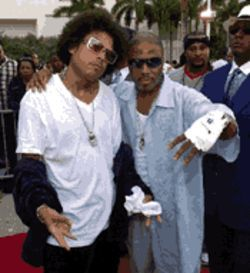 "Get at me dog: Ray ""Benzino"" Scott and producer Teddy Riley hold court at the Source Hip-Hop Awards"