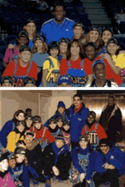 Hip Hop gigs: At the Miami Arena with Magic Johnson  (top), and at the Macy's Thanksgiving Day Parade with  the Backstreet Boys