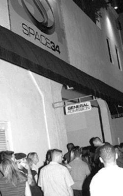 "Revelers wait in line for the first of Space's ""closing parties"""