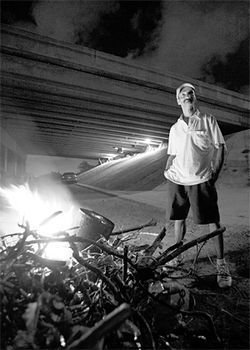 "Patrick Wiese has lived under the Julia Tuttle Causeway for almost a year. ""It's always been political,"" he says."