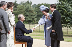 Bill Murray as FDR, Olivia Colman as Elizabeth, and Samuel West as Bertie in Hyde Park on Hudson.