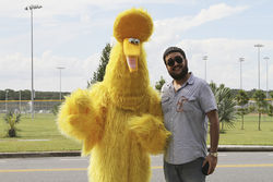 Big Bird and this story&#039;s author make an appearance at a Romney rally in Apopka.