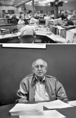Lazaro Asencio (above) has fought with sword and pen against his old friend Fidel Castro, but as director of Radio Martí's newsroom (at top) he's armed with millions of U.S. dollars